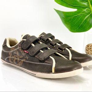 Levi's Sneaker Triple Strap Brown Faux Leather Low